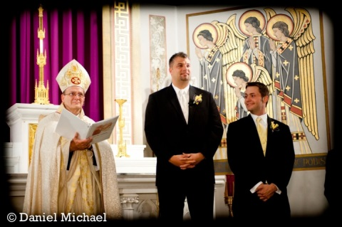 Photo of the Archbishop with Groom and Best Man