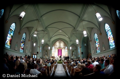 photo of church during ceremony